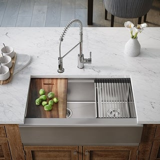 Link to 407L-LEDGE Double Bowl Stainless Steel Apron Workstation Sink Similar Items in Sinks