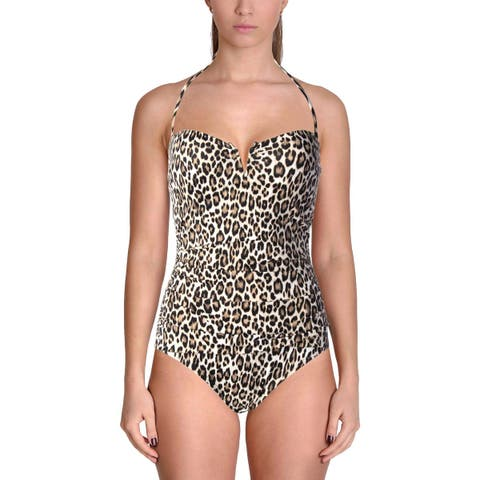 Tommy Bahama Womens Cat's Meow Animal Print Convertible One-Piece Swimsuit
