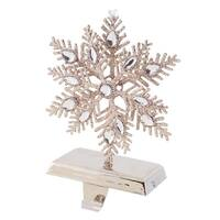 "8.75"" Luxury Lodge Elegant Silver Glitter Encrusted Snowflake Christmas Stocking Holder"