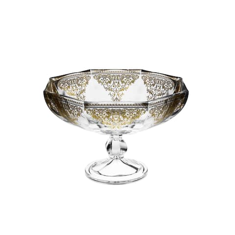 Large Footed Bowl with 14K Gold Heavy Artwork