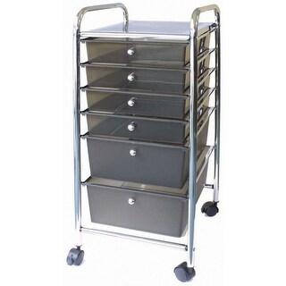 """Storage Studios Home Center Rolling Cart W/6 Drawers-15.25""""X31.75""""X13"""" Smoke"""