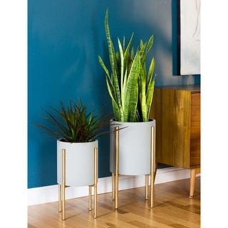 "Link to Nabila Grey/Gold Metal Mid-century Planters (Set of 2) - 23""h x 12.5""w x 12.5""d / 19""h x 10.5""w x 10.5""d Similar Items in Planters, Hangers & Stands"