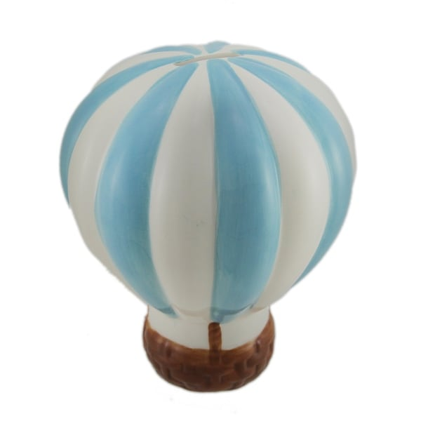 Baby Blue and White Hot Air Balloon Ceramic Coin Bank - 7 X 5.75 X 5.75 inches