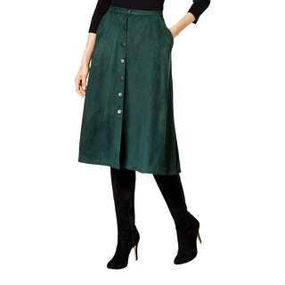 NY Collection Womens A-Line Skirt Solid Faux Suede