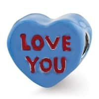 Sterling Silver Reflections Kids Love You Enameled Heart Bead (4mm Diameter Hole)