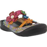 L'Artiste by Spring Step Women's Icaria Clog Navy Multi Leather
