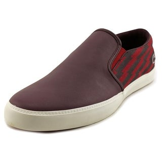 Lacoste Gazon Men  Round Toe Leather Burgundy Loafer