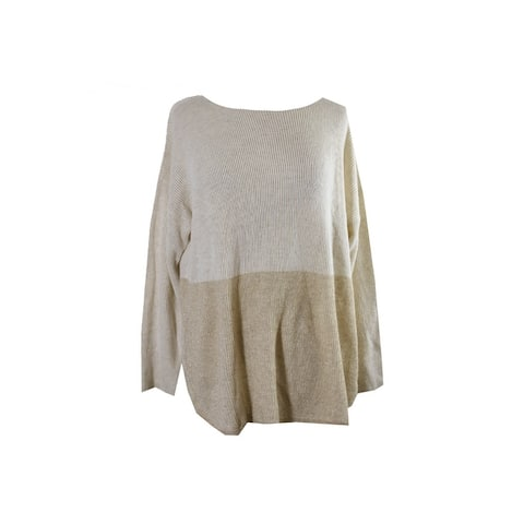 Inc International Concepts Plus Size Ivory Two-Tone High-Low Sweater 0X