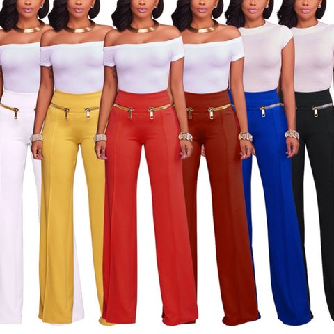 Women Casual Loose Trousers Solid Color Zipper Pants Soft Yoga Outfit Gift