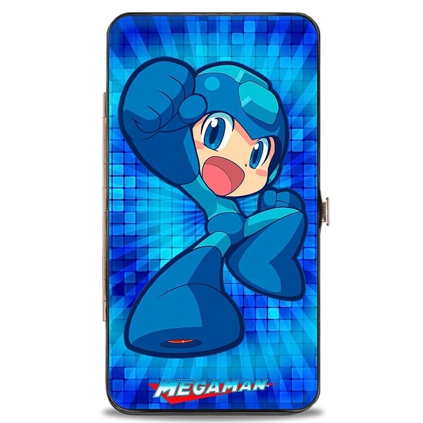 Chibi Megaman Pose Tile Blues + Chibi Roll Pose Tile Yellows Hinged Wallet - One Size Fits most