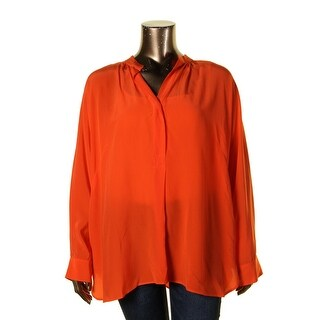 Lauren Ralph Lauren Womens Plus Bridney Blouse Button Front Silk