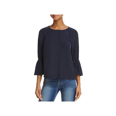Frame Denim Womens Blouse Silk Bell Sleeves - L