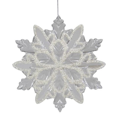 """5.5"""" Clear Snowflake with White Design Christmas Ornament"""