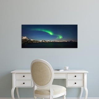 Easy Art Prints Panoramic Images's 'Aurora, Stamsund village, Lofoten, Nordland County, Norway' Canvas Art