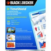 Black & Decker TimeShield Laminating Pouch, 8-1/2 x 11 Inches, 3 mil, Pack of 100