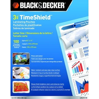 Black Decker TimeShield Laminating Pouch, 8-1/2 x 11 Inches, 3 mil, Pack of 100
