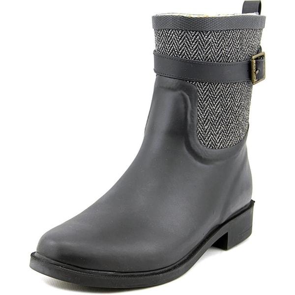 Chooka Buckled Herringbone Women Round Toe Synthetic Black Rain Boot