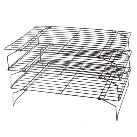 "Kitchen Meat Bread Metal 3-Tier Stackable Cooling Rack Black 13"" x 9"""