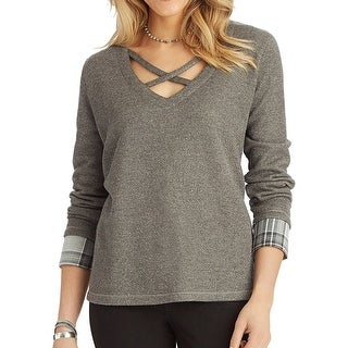 Democracy Womens Small Layered-Look Pullover Sweater