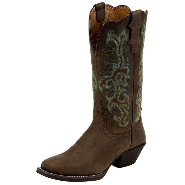 Shop Justin Western Boots Womens Leather Stampede Sorrel