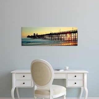 Easy Art Prints Panoramic Images's 'Pier in the ocean at sunset, Oceanside, San Diego County, California' Canvas Art