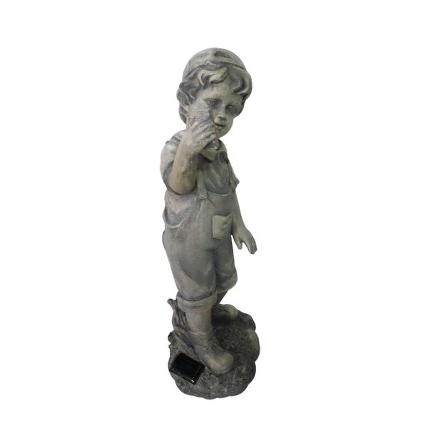 """18"""" Distressed Gray Boy with Cell Phone Solar Powered LED Lighted Outdoor Patio Garden Statue"""