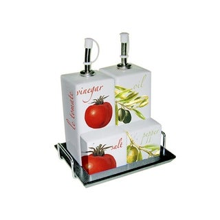 5-Piece L'Olive and Le Tomate Porcelain Crouette Set with Tray - White