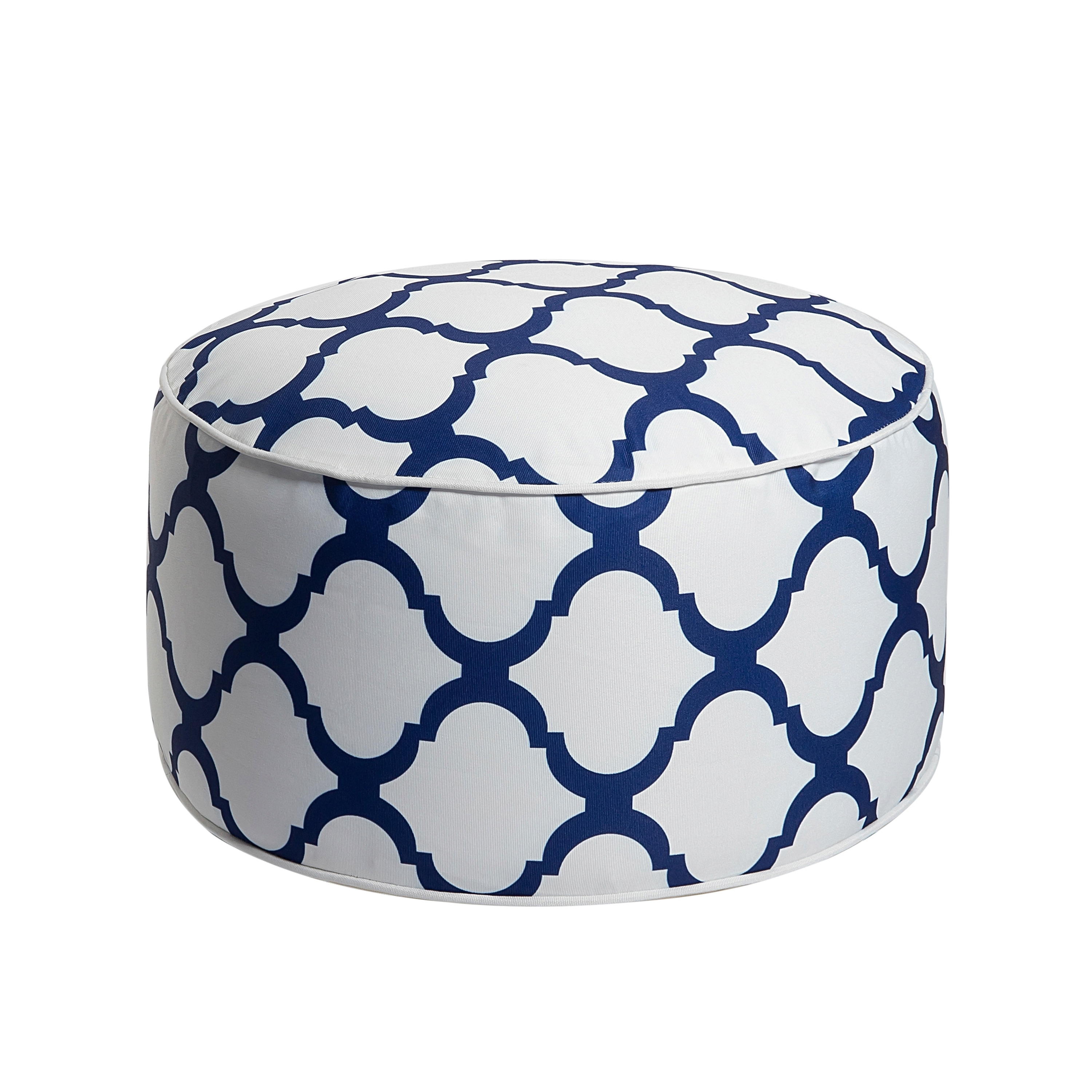 Patio Garden Front Porch Deck Backyard Art Leon Outdoor Inflatable Ottoman Dark Blue Round Patio Footstool for Kids and Adults