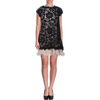 Aqua Womens Juniors Chiffon Lace Overlay Babydoll Dress