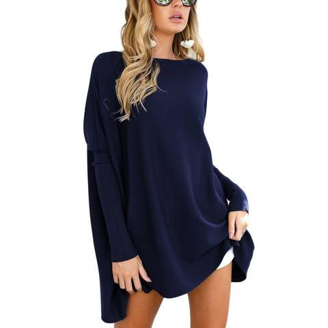 Stylish Dark Blue Irregular Hem Bateau Collar Sweaters Full Sleeve Plus