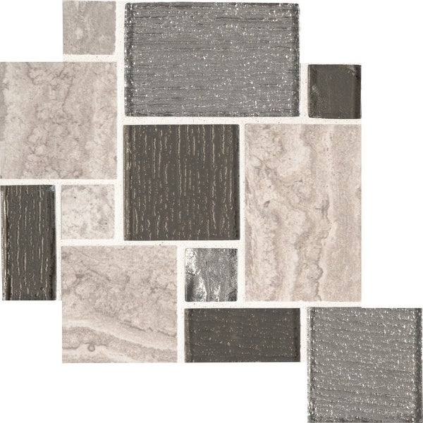 "MSI SMOT-GLSP-8MM 11-3/4"" x 11-3/4"" Versailles Mosaic Sheet - Varied Glass and Porcelain Visual - Sold by Carton (9.6 - Lynx"