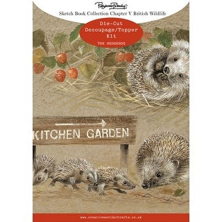 Pollyanna Pickering Sketchbook A4 Die-Cut Decoupage Card Kit-Ch.5 British Wildlife Hedgehog