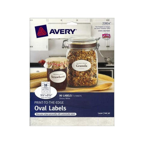 22814 avery label print-to-the-edge oval glossy wht90pc