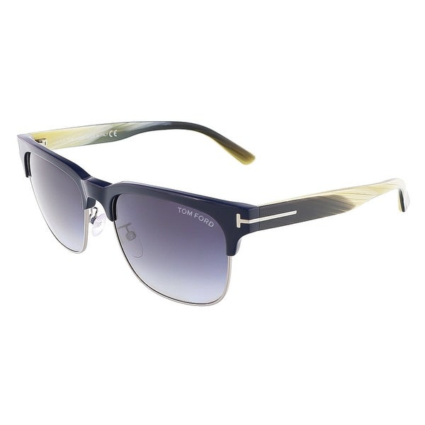 0254f431f1a Tom Ford FT0386 S 89W LOUIS Blue Beige Horn Clubmaster sunglasses