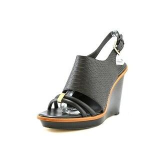 Calvin Klein Prina Open Toe Leather Wedge Sandal
