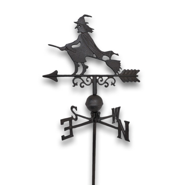 Flying Witch Weathervane Lawn Decoration Garden Stake - 40.75 X 14.25 X 1 inches