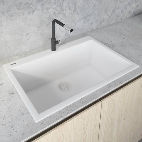 Ruvati 30 x 20 inch epiGranite Drop-in Topmount Granite Composite Single Bowl Kitchen Sink  Arctic White  RVG1030WH
