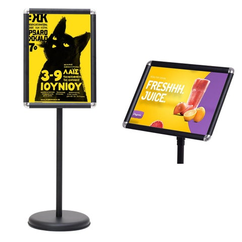 Goplus Adjustable Pedestal Poster Stand Aluminum Snap Open Frame For 13'' x 18'' Graphics