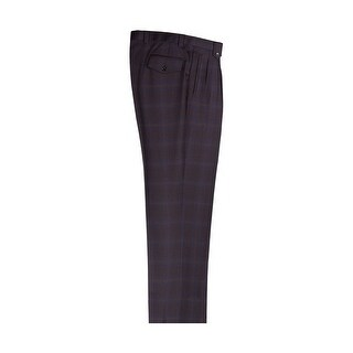 Black and Blue Plaid Wide Leg Dress Pants Pure Wool by Tiglio Luxe