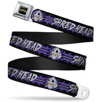Classic Tmnt Logo Full Color Shredder Head Shred Head Stripe Black Purple Seatbelt Belt
