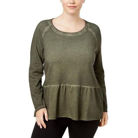 Style & Co. Women's Blouse Olive Green Size 2X Plus Acid Wash Ruffled