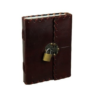 Handmade Leather Bound 240 Page Blank Journal With Metal Clasp and Padlock