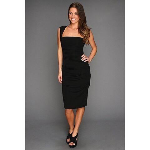 Nicole Miller Sleeveless Jersey Tuck Dress Black Women's Dress SZ: MEDIUM