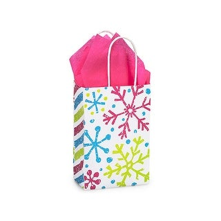 "Pack of 25, Rose Snowflake Jubilee Bags 5.5 x 3.25 x 8.5"" For Christmas Packaging, 100% Recyclable,"