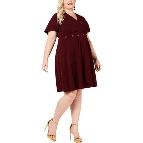 Love Squared Womens Plus Party Dress Grommet Knee-Length