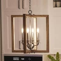 """Luxury Modern Farmhouse Chandelier, 18.75""""H x 16""""W, with Rustic Style, Galvanized Steel Finish by Urban Ambiance"""
