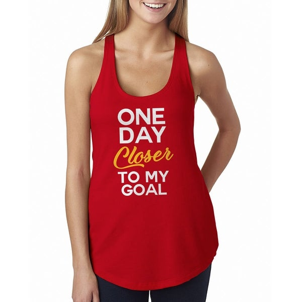 72509271c Shop One Day Closer To My Goal Cute Women's Red Racerback Tank - Free  Shipping On Orders Over $45 - Overstock - 19749957