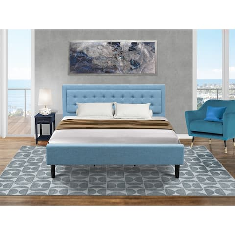 Platform Bedroom Set with Mid Century Bed and Bedroom Nightstand - Denim Blue Linen Fabric - ( End Table Piece Option )