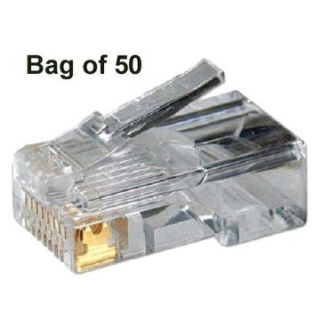 Cat5e UTP RJ45 Connectors, For Stranded Cable, 50 micron Gold Plating, 50 pack
