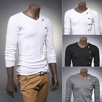 V-Neck Cotton Plain Long Sleeve Pullover Men's Shirts Pullover Men's Shirts